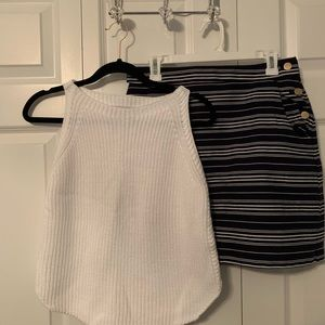 Loft sweater tank & navy and white stripped skirt